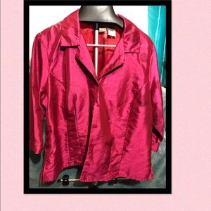 Fushia button up blouse. Can be dressed up or down